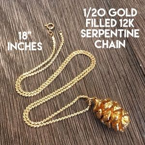 Gold Plated Pinecone 12k Gold Filled Chain